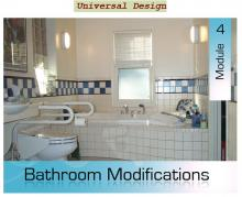 Interior view of a bathroom with course title overlaid