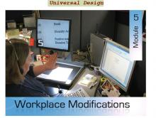 A person sitting at desk, using an assistive device in front of two computer screens, with course title overlaid