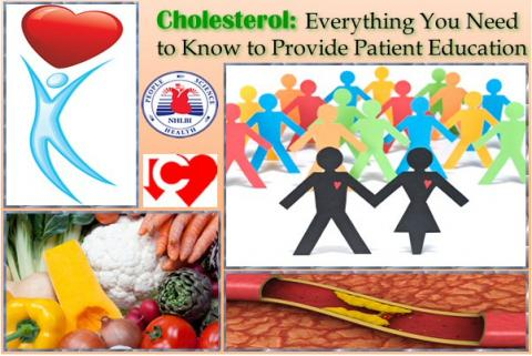 Collage of images:  fresh vegetables, a stylized figure holding a heart over its head, and representation cutaway of an artery with plaque build-up inside