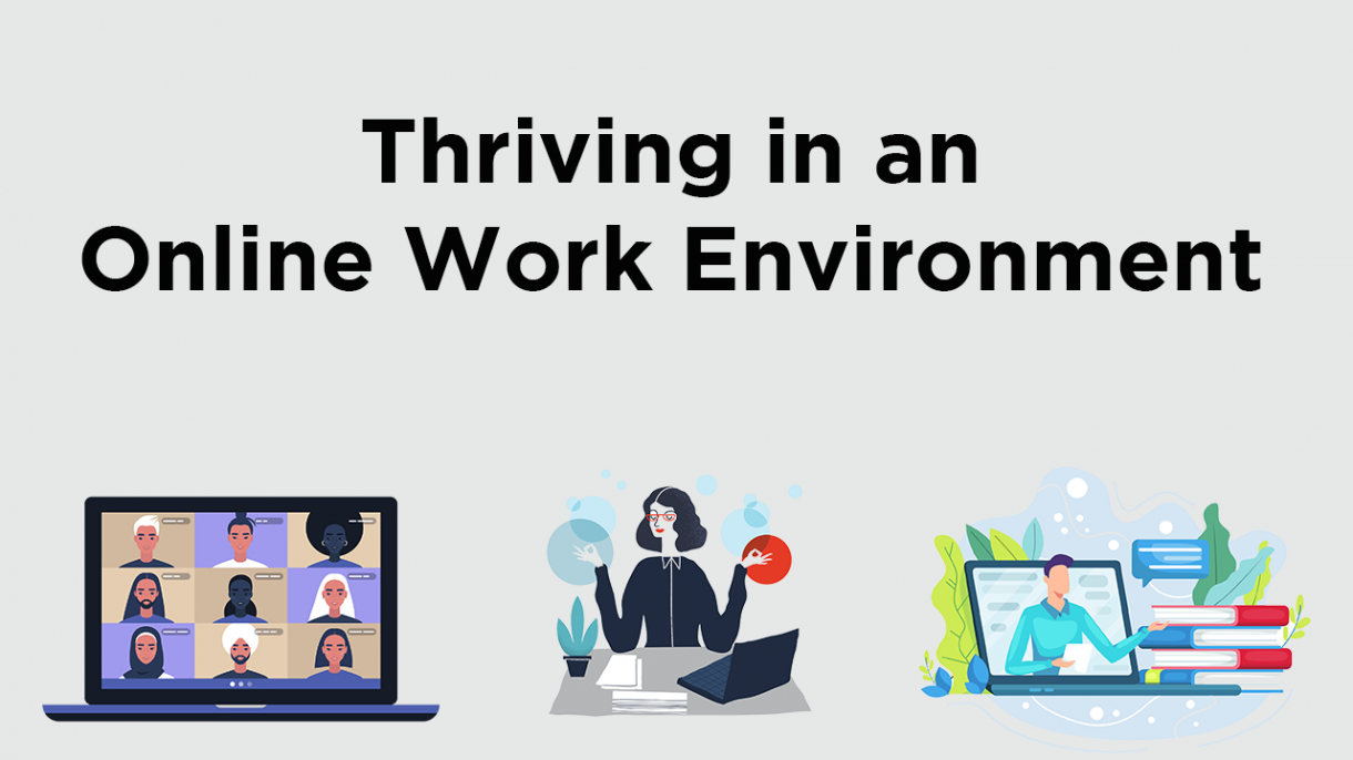 Thriving in an Online Work Environment course title logo